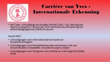 Carriere van Yves-Internationale erkenning